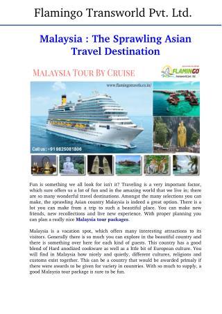 Malaysia Tour : The Sprawling South Asian Travel Destination