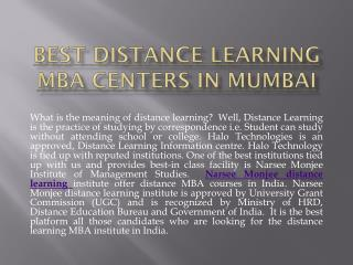 Best Distance Learning MBA Centers in Mumbai