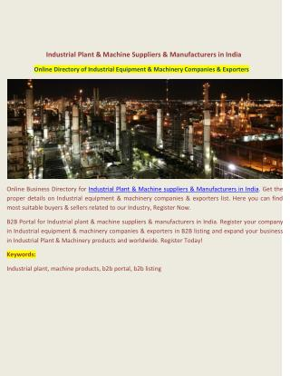 Industrial Plant & Machine Suppliers & Manufacturers in India