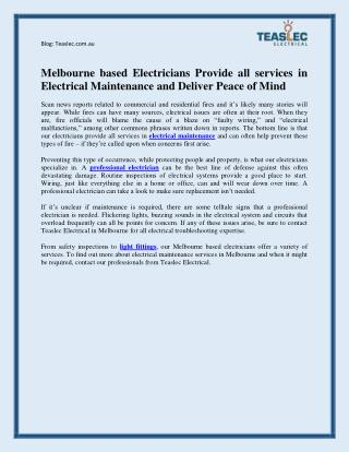 Melbourne based Electricians Provide Electrical Maintenance Services and Deliver Peace of Mind