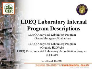 LDEQ Laboratory Internal Program Descriptions