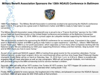 Military Benefit Association Sponsors the 138th NGAUS Conference in Baltimore