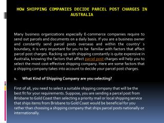 How shipping companies decide parcel post charges in australia