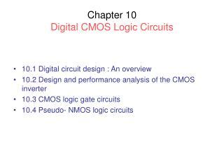 Chapter 10 Digital CMOS Logic Circuits