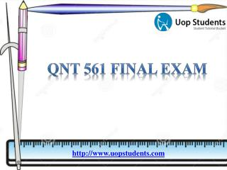 QNT 561 Final Exam | QNT 561 week 2 Quiz Answers | UOP Students