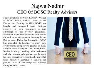 Najwa Nadhir - CEO of BOSC Realty Advisors