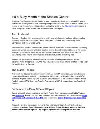 It�s a Busy Month at the Staples Center