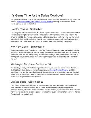 It's Game Time for the Dallas Cowboys!