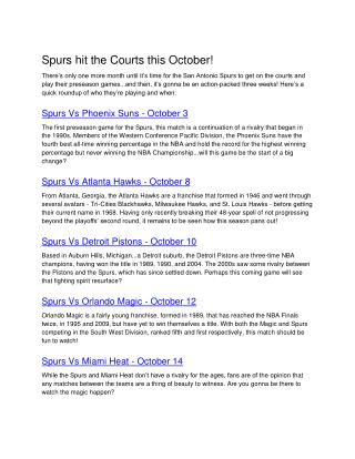 Spurs hit the Courts this October!