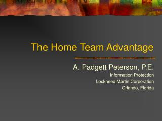 The Home Team Advantage