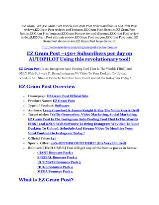 EZ Gram Post Review and (FREE) EZ Gram Post $24,700 Bonus