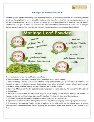 Moringa Leaf Powder & Its Uses