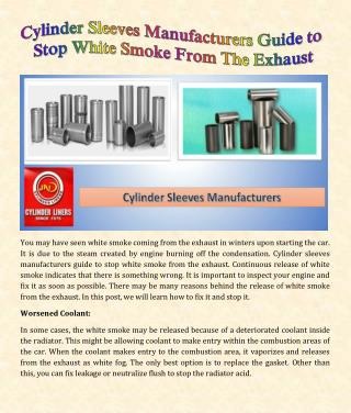 Cylinder Sleeves Manufacturers Guide to Stop White Smoke From The Exhaust