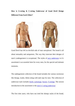 How is G-string & C-string Underwear of Good Devil Design Different From Each Other?
