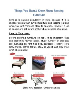 Things You Should Know About Renting Furniture