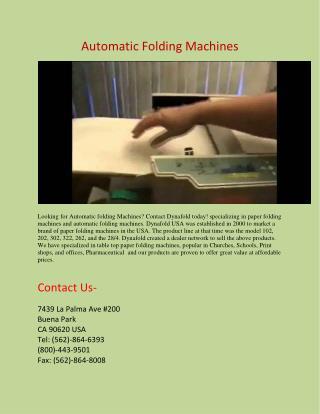 Automatic Paper folding machines