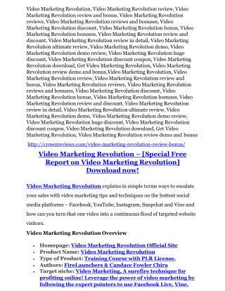 Video Marketing Revolution Review - 80% Discount and $26,800 Bonus