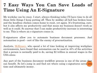 7 Easy Ways You Can Save Loads of Time Using An E-Signature