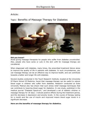 Benefits of massage therapy for diabetes - ora regenesis spa