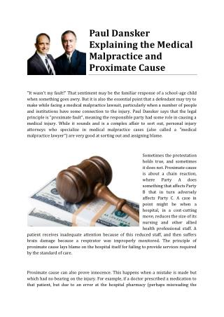 Paul Dansker Explaining the Medical Malpractice and Proximate Cause