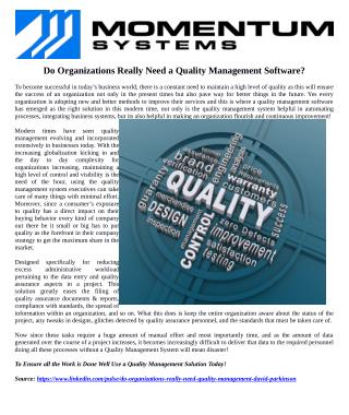 Do Organizations Really Need a Quality Management Software?