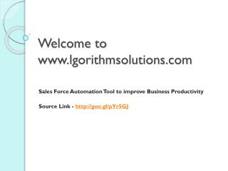 Sales Force Automation Tool to improve Business Productivity