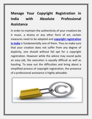 Manage Your Copyright Registration in India with Absolute Professional Assistance