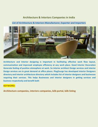 Architecture & Interiors Companies in India