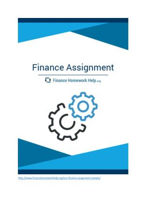 Finance Assignment Sample