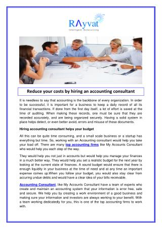 Reduce your costs by hiring an accounting consultant