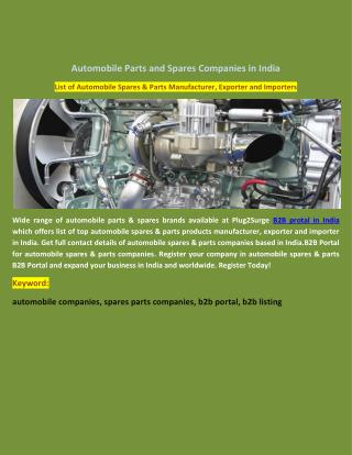 Automobile Parts and Spares Companies in India