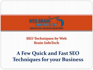 A Few Quick and Fast SEO Techniques for your Business