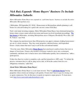 Nick Ruiz Expands 'Home Buyers' Business To Include Milwaukee Suburbs