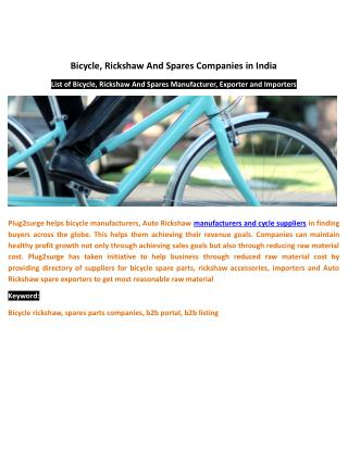 Bicycle, Rickshaw And Spares Companies in India