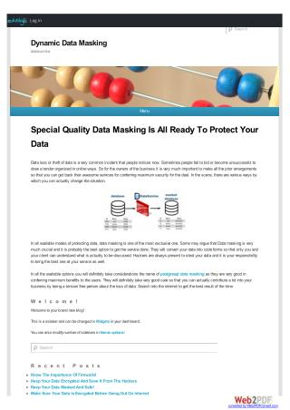 Special Quality Data Masking Is All Ready To Protect Your Data