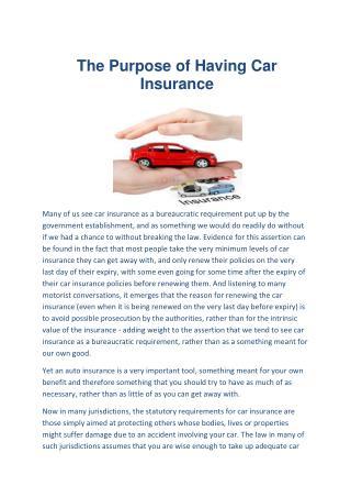 The Purpose of Having Car Insurance