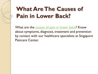 Symptoms, Diagnosis and Treatment of Lower Back Pain