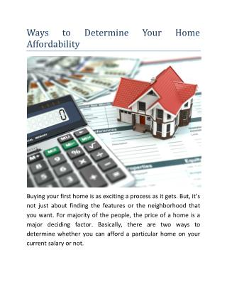 Ways to Determine Your Home Affordability