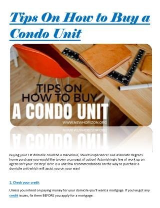 Tips On How to Buy a Condo Unit
