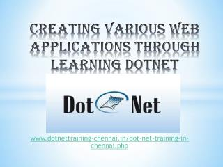 Dotnet training institutes in chennai