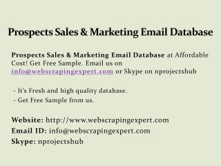 Prospects Sales & Marketing Email Database