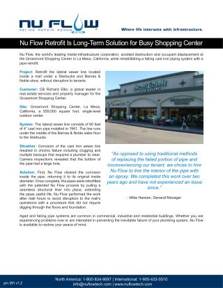 Nu Flow Retrofit Is Long-Term Solution for Busy Shopping Center