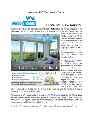 Wonder uPVC Windows and Doors Manufacturers