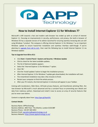How to Install Internet Explorer 11 for Windows 7?