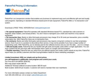 Patronpal Gift card Software Pricing and information