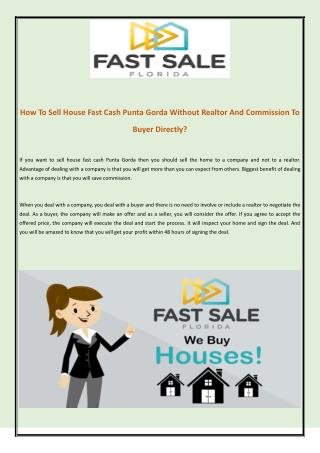 How To Sell House Fast Cash Punta Gorda