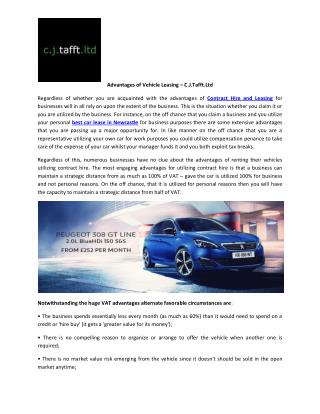 Advantages of Vehicle Leasing – C.J.Tafft.Ltd