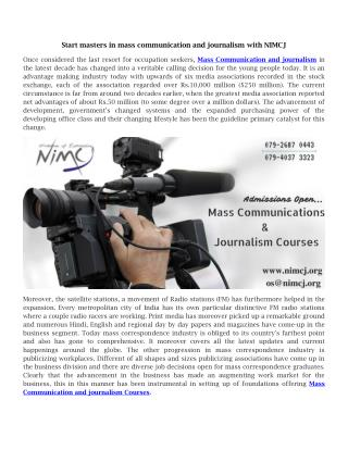 Start masters in mass communication and journalism with NIMCJ
