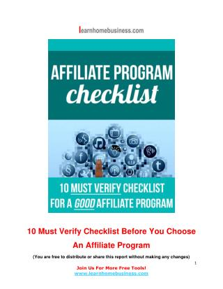 10 Must Verify Checklist Before You Choose An Affiliate Program