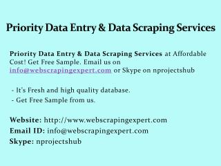 Priority Data Entry & Data Scraping Services